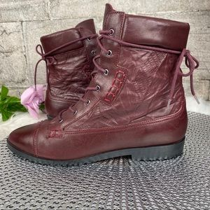 Tony Bianco Leather Burgundy Combat Boots Size 8.5